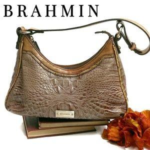 BRAHMIN Leather Croc Embossed Shoulder Bag Purse